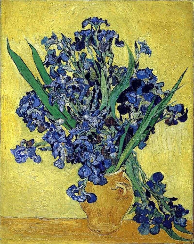Mazzo Di Fiori Van Gogh.Still Life Un Vaso Con Iris Su Sfondo Giallo Vincent Van Gogh
