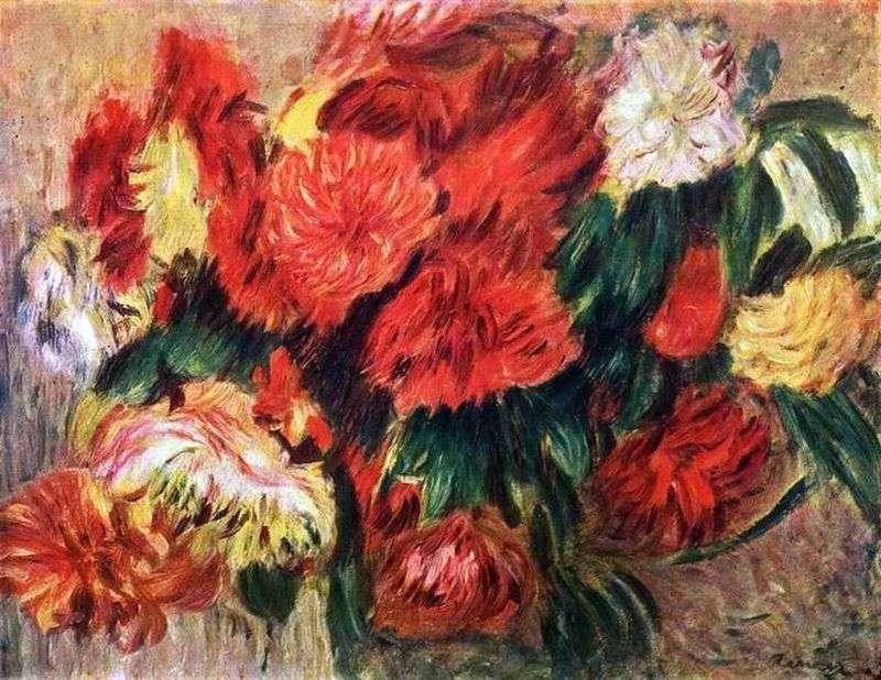 Mazzo Di Fiori Su Una Sedia Renoir.Natura Morta Con Crisantemi Pierre Auguste Renoir