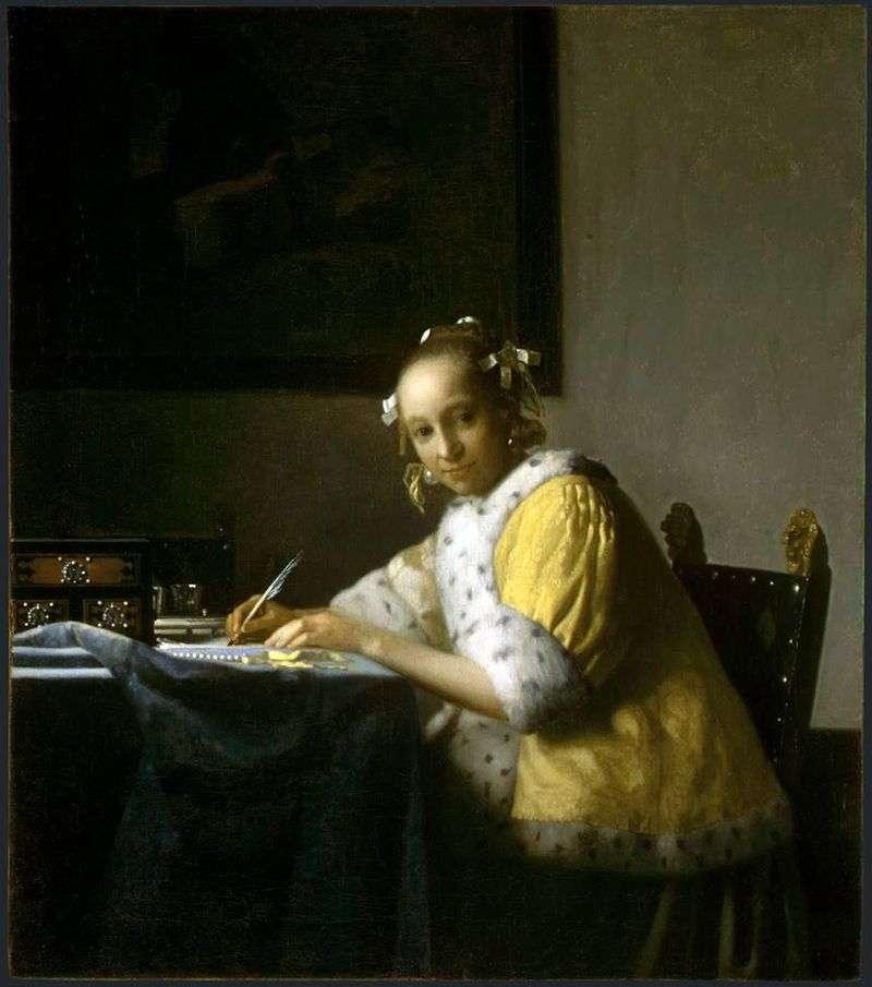 Ragazza che scrive una lettera – Jan Vermeer ❤️ - Vermeer Jan